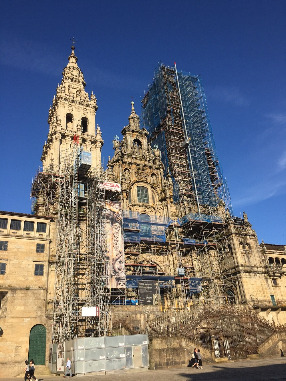Front of cathedral under renovation