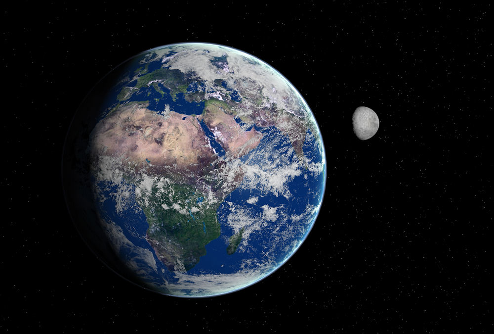 Our earth and moon from Juno