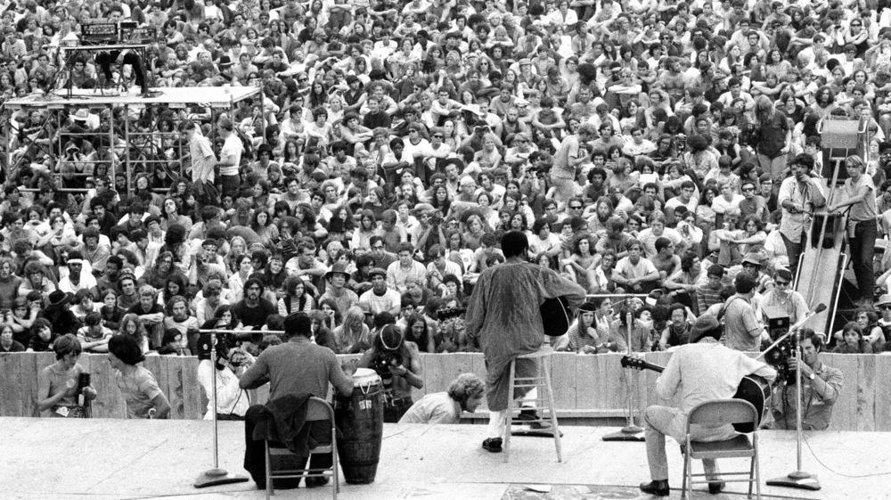 "RIchie Havens singing ""Freedom"" at Woodstock"