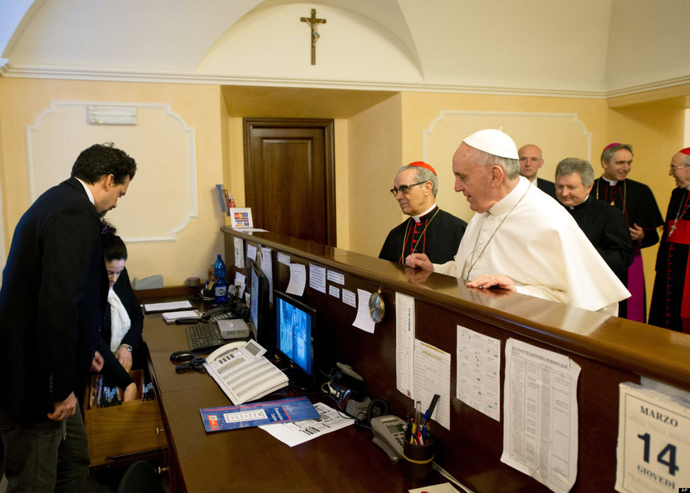 Pope Francis paying his hotel bill right after being elected Pope.