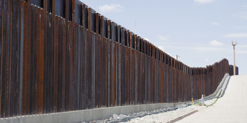 Present wall on border of US and Mexico