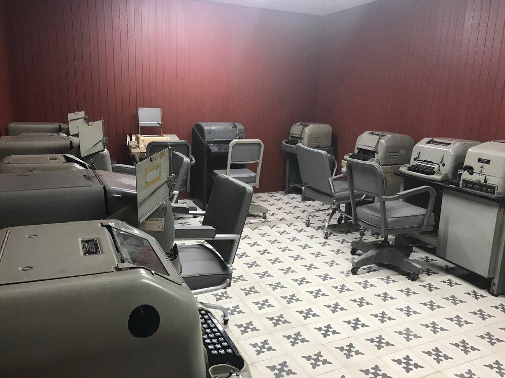 Teletype room in bunker