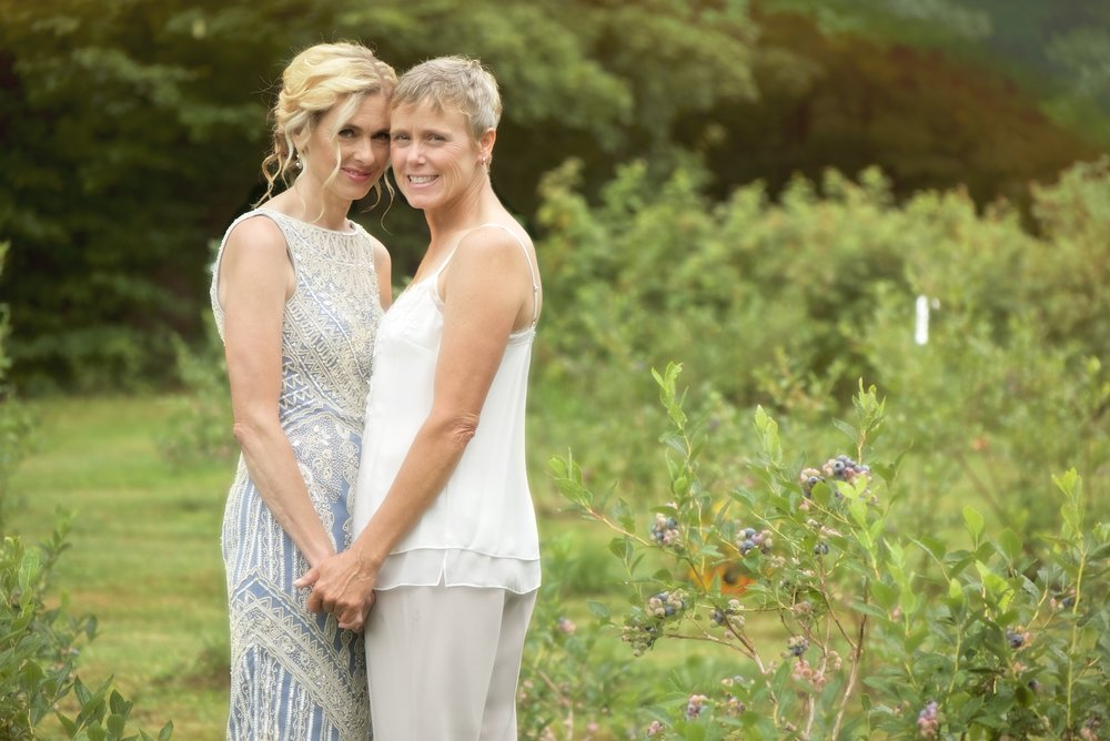Same sex wedding portrait of two brides