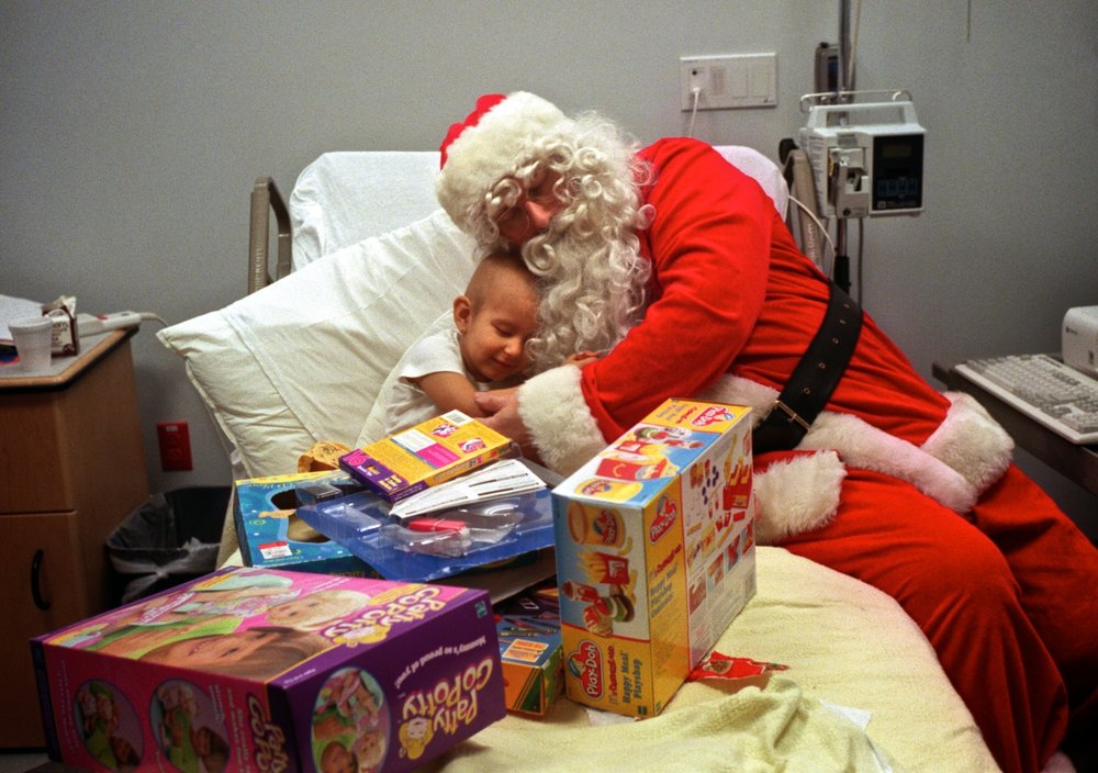 A volunteer brings toys to children with cancer at the Connecticut Children's Medical Center.