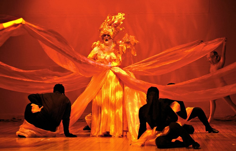 A multimedia theater production called Fire is performed at the Wadsworth Museum in Hartford CT.