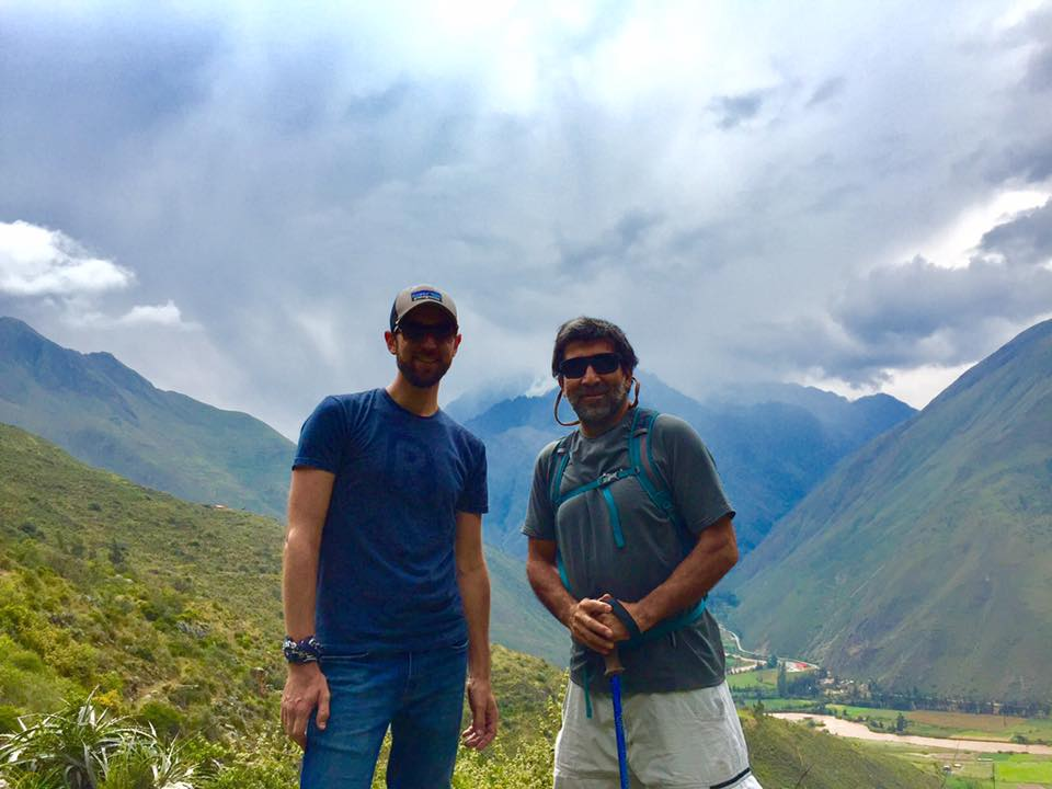 Jacob and Pepe hiking in the Sacred Valley of Peru