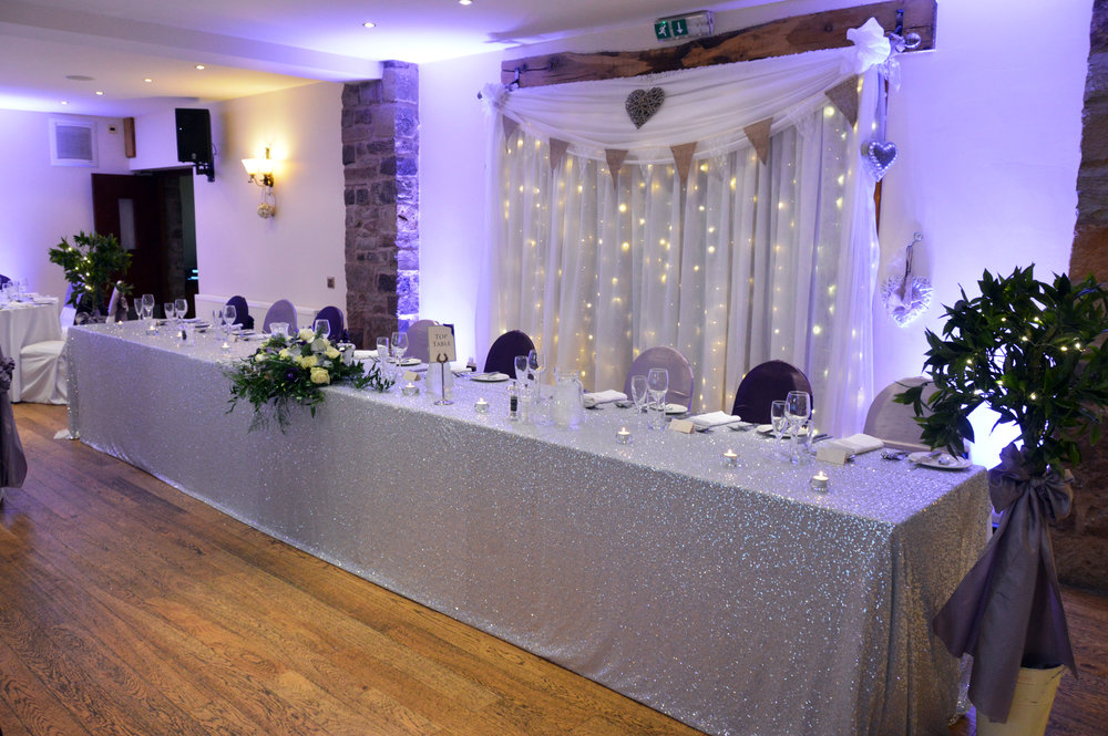 Silver sequin top table cloth