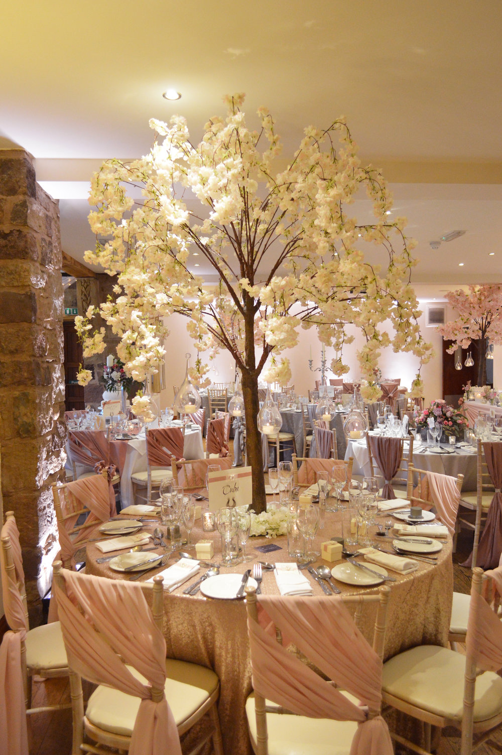 Blossom tree table centrepiece and sequin table cloth