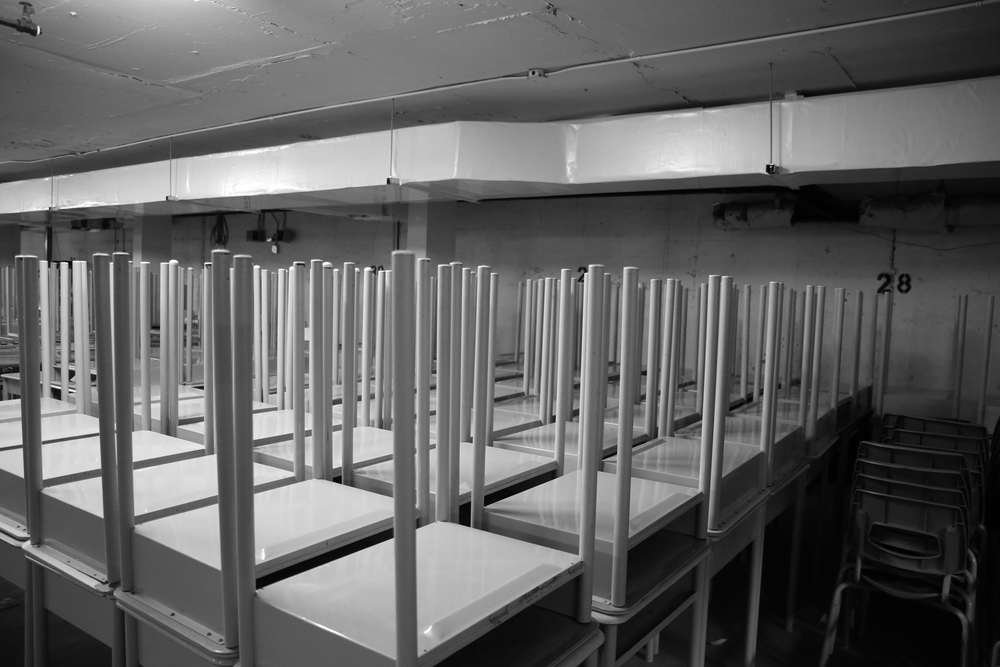 Desks, in the parking garage.