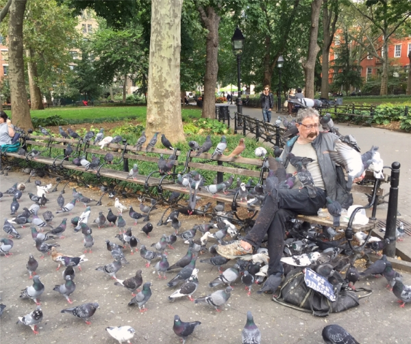 "Paul, who lives in a rent-controlled apartment in the neighborhood, is a staple of Washington Square. Known affectionately as the ""bird man"" or the ""pigeon man"", he can be found on the same bench every day, feeding the birds he considers his old friends."