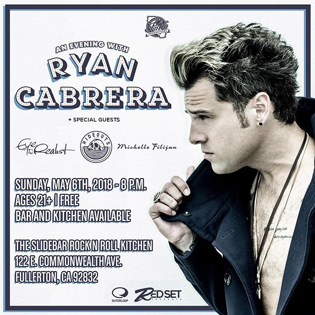 Y'all remember @ryancabrera !? Dude is making an appearance in Fullerton and we will be playing a set alongside him and our dudes in @hideouts and our homie @michellefilijan ! Come sing along!