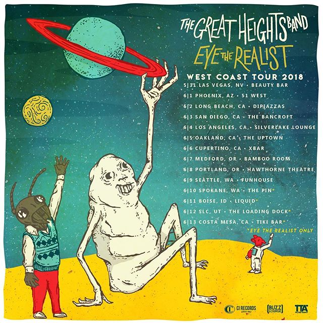 No Days Off! Come find us in a city Near You along side @thegreatheightsband!  We will be playing our newest album Strains on this run! 🎨 by @scottsiskind