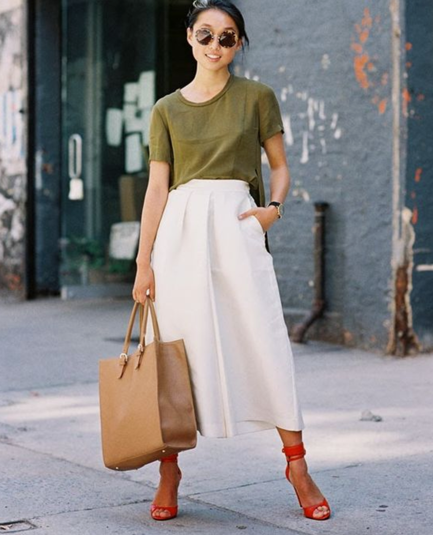 Neutral in color, but not in style. - It's all about mixing comfort with style here. Blend a pair of white culottes with a neutral tone slouchy tee. Or reverse and pair a bold colored culotte with a simple white v-neck tee. We love the style and design of t-shirts from Brass.