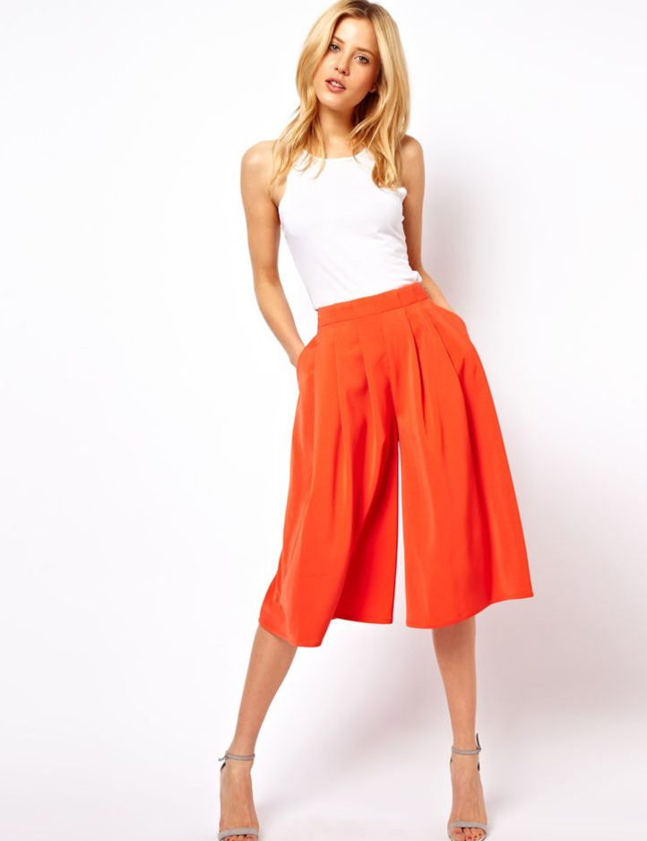 Reverse it with a pop of color. - If you are going to go with a bold colored culotte, like these from Milly (an Armoire customer favorite),pair with a sassy crop top and strappy sandal.