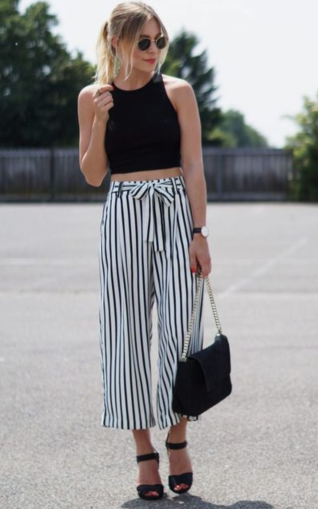 Striped and cropped. - I love this carefree yet pulled together look. Match a striped culotte with a black crop top and a pair of wedge sandals. For a more laid back look, pair with your favorite pair of sneakers.