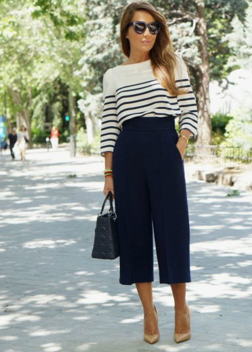 Oh my navy. - This striped lightweight sweater paired with a chic dressier culotte for a day at the office is on point. Matched with your favorite nude pump this will take you from your desk to drinks in style.