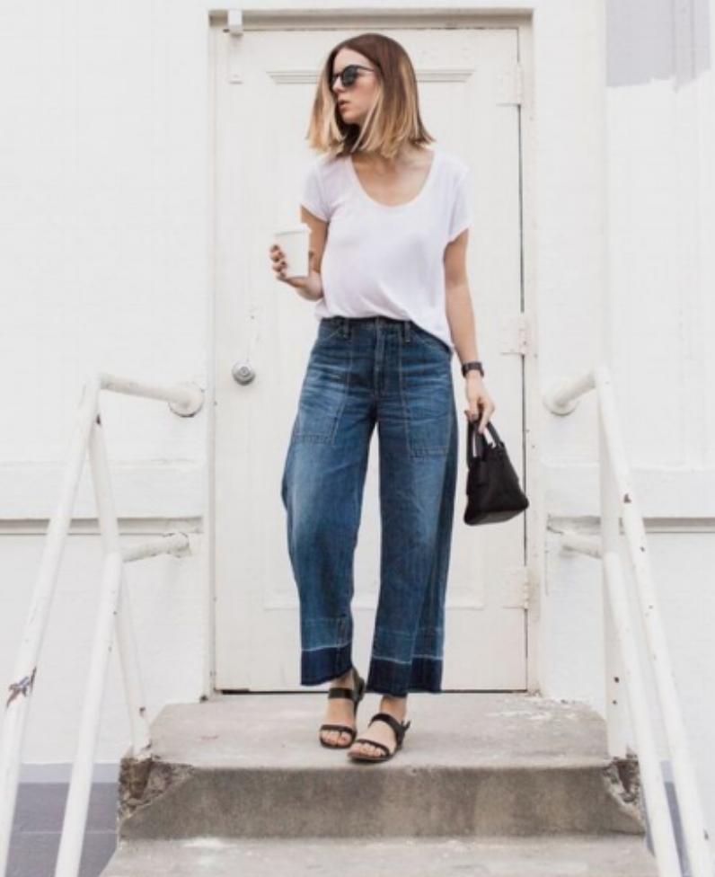 Denim for days. - Culottes don't always have to feel dressy. Here you can pull together an A+ look with a pair of denim culottes. Paired with a boxy cropped eyelet top this look has you ready for that mimosa brunch.