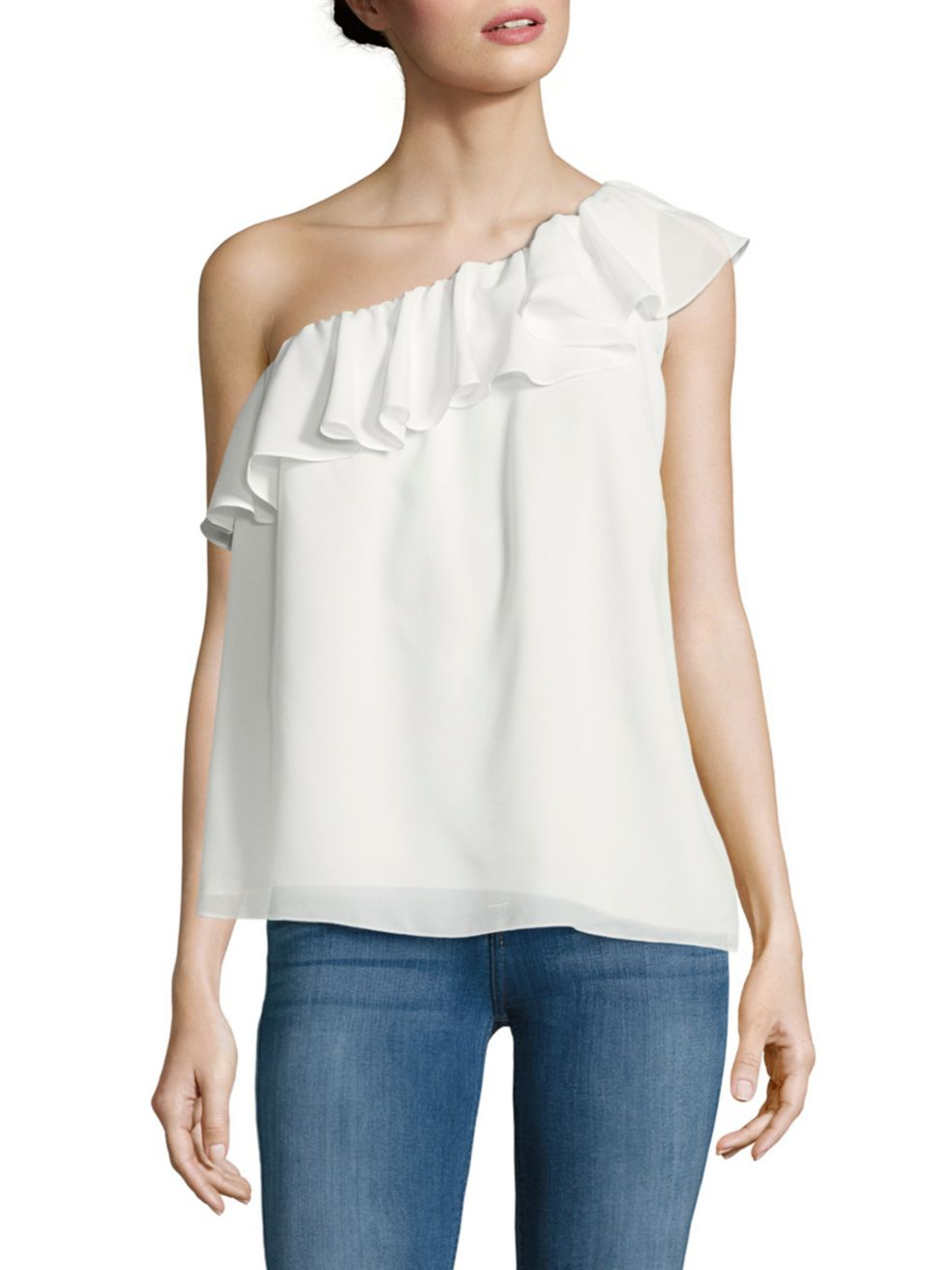One-shoulder glam. - This top is so easy to wear, that you can literally wear it with anything under the sun. This summery tie-up is begging to be paired with a pair of high-waisted shorts or a nice skirt with sailor stripes. This is a great top to try an all-white look with. Pair it with nice white linen pants or shorts, and add a tan-belt and mirrored sunglasses to make it movie-star glam!