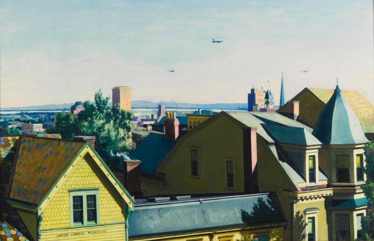 Vincent Jannelli, Cityscape with Airplanes and Dirigibles / Image courtesy of Sotheby's.