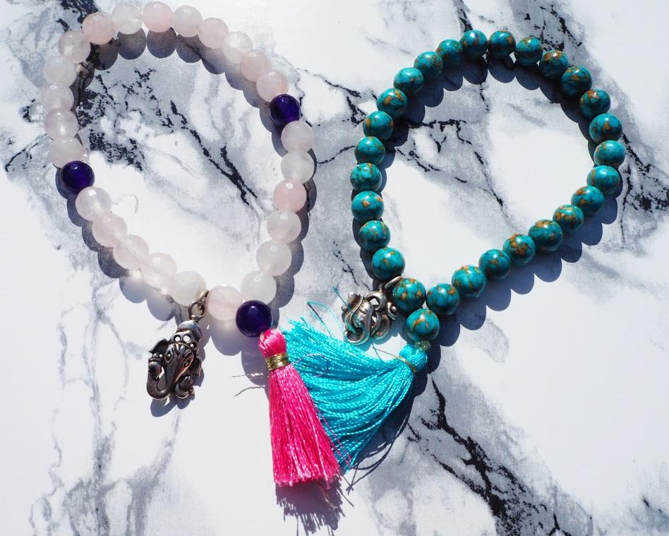 Rosequartz Ganesha bracelet & Turquoise Ganesha bracelet from Soul & Jewels