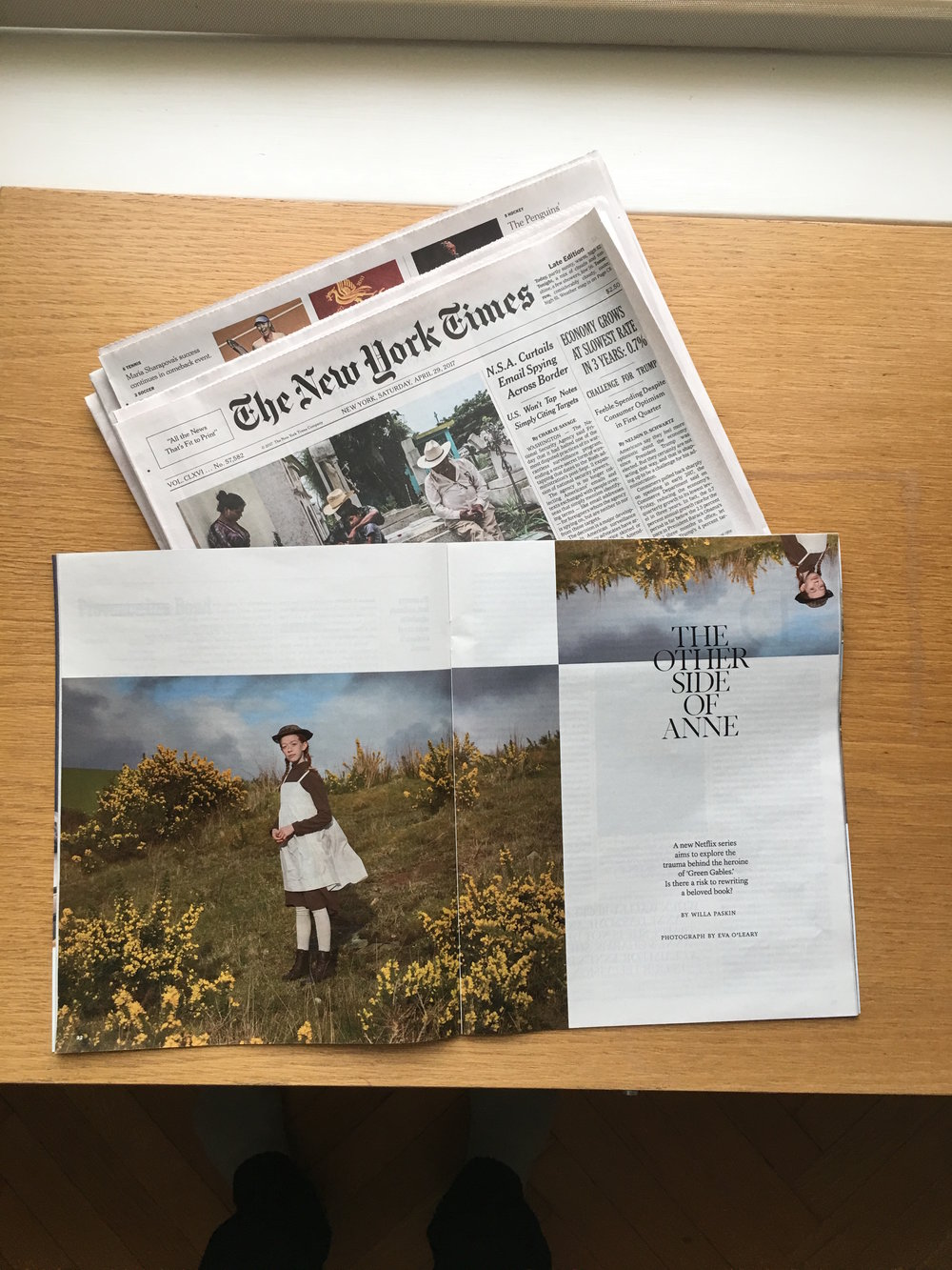 Eva O'Leary on assignment with the New York Times:  Magazine Section, April 30, 2017