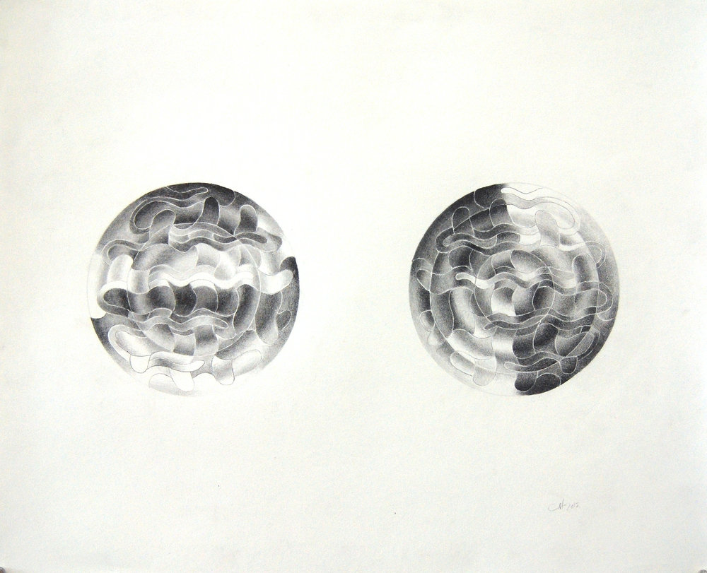 Charlotte Hallberg. Graphite Drawing, 2017. 14 x 17 inches.