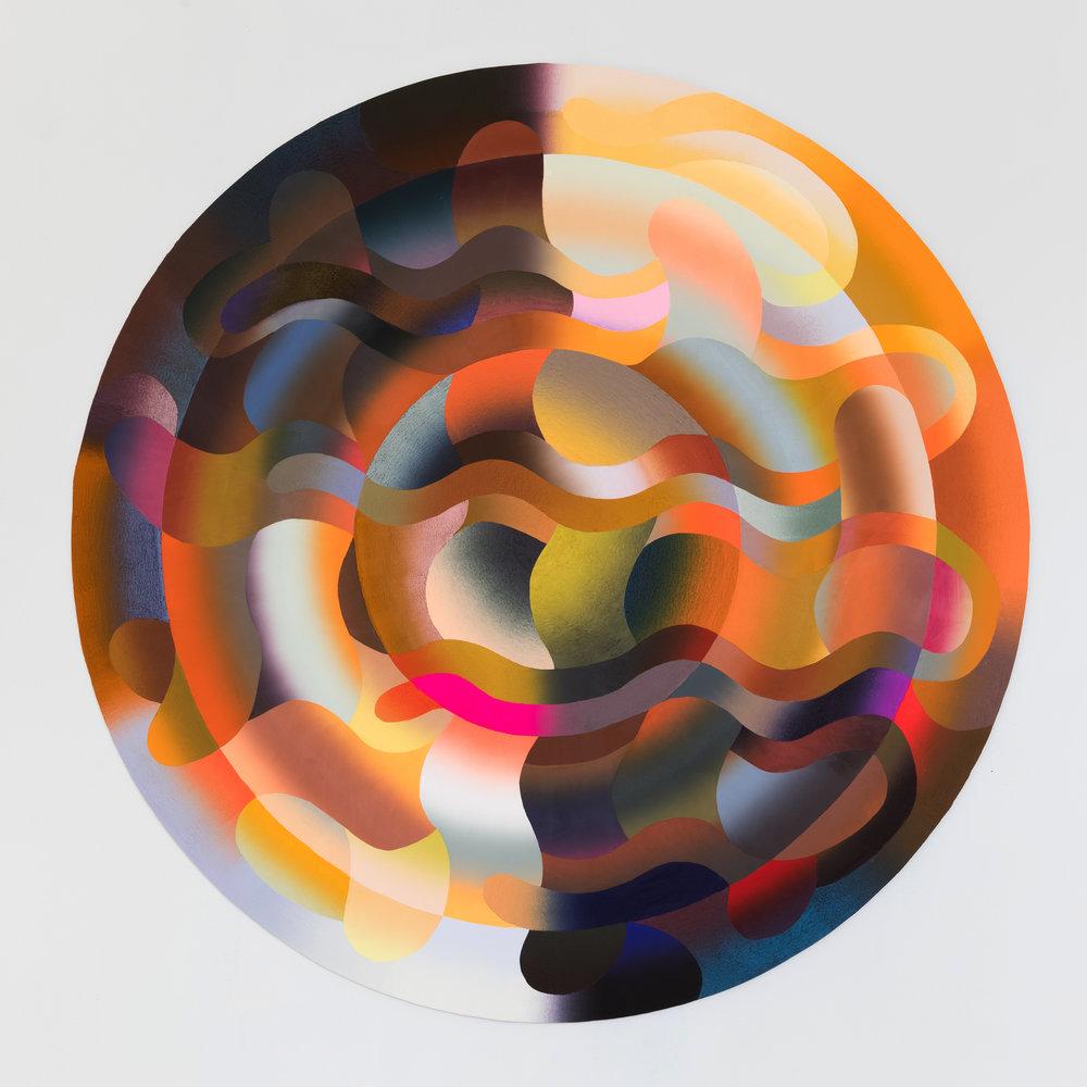 """Charlotte Hallberg,  Hateful Heart , 2017, Oil on panel, 48"""" diameter"""