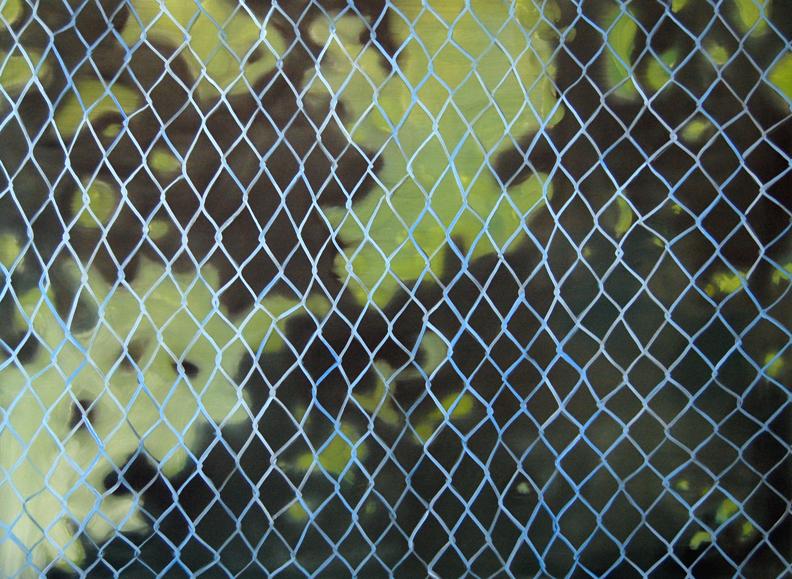 Aglaé Bassens.  Dappled Fence.  Oil on canvas. 40 x 54 in.