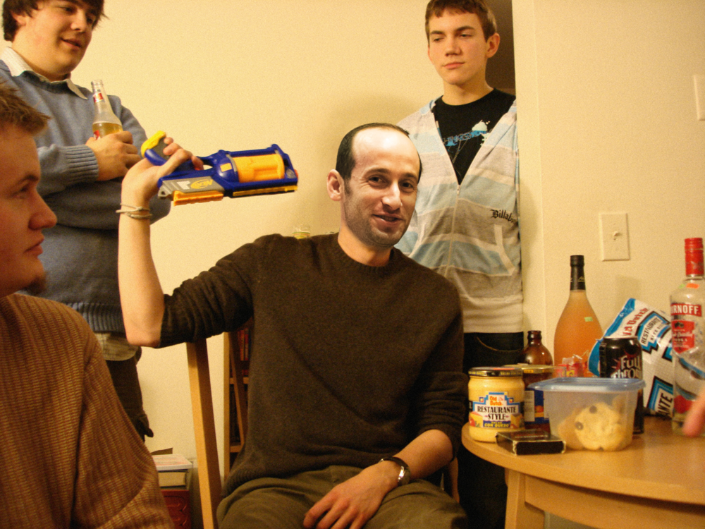 Stephen Miller playing nerf roulette at a forum meetup, 2007