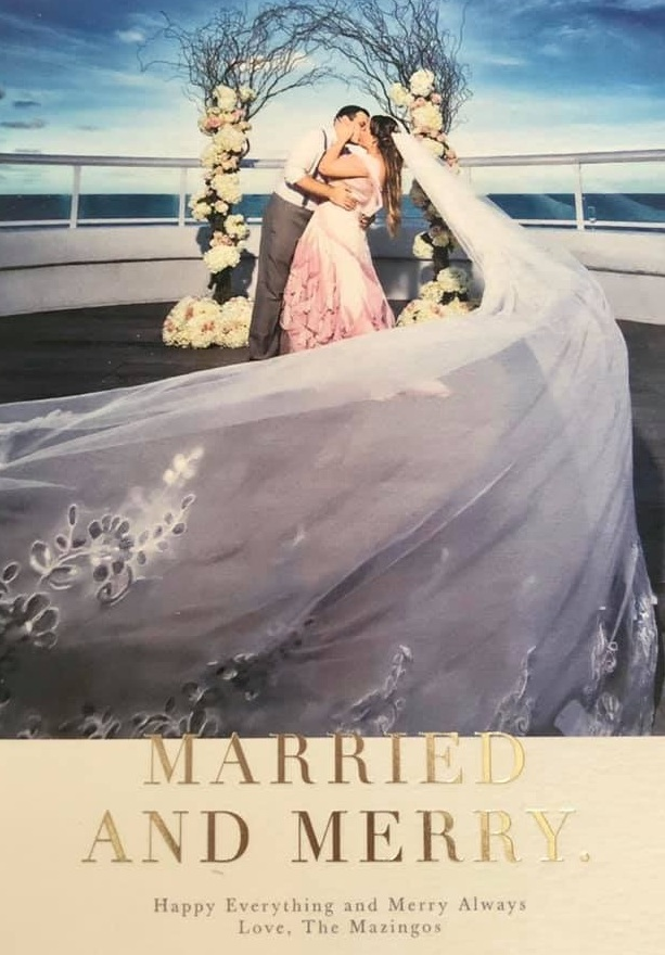Our brides love bringing the drama! - Bride Jessica Mazingo (nee Thompson) seen in her custom Taylor Catarina New York wedding dress in their holiday card.Photographer: Adam Opris