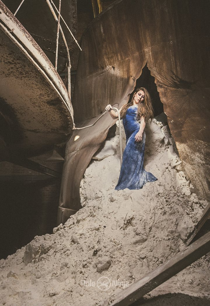 Amanda Rose in what might be a pile of limestone dust