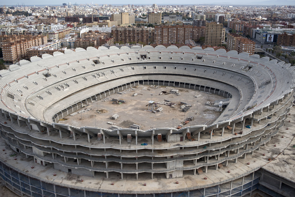 Nou Mestalla Stadium is the planned new stadium of Valencia CF. Work began on the stadium in August 2007, but was halted two years later in February 2009 due to lack of funding. It remains untouched and needs another 150 million euros to complete.  In the years leading up to the 2008 financial crisis, Spain experienced a construction boom, eventually collapsing leaving millions of homes and other buildings such as this vacant.