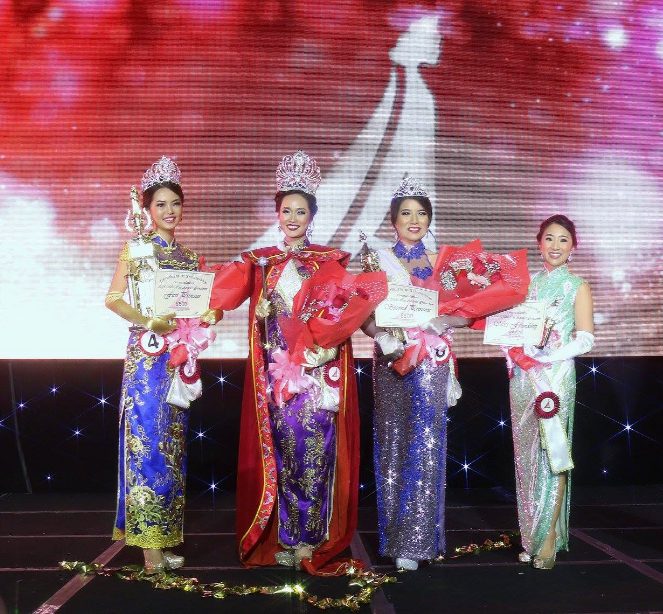 From left to right:  First Princess Ying Michelle Liang, Queen and Miss Photogenic Li Qu, Second Princess Kristen Phung and Miss Friendship Alyssa Tso.