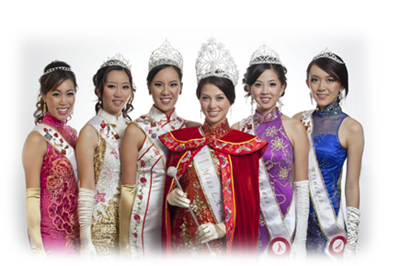 From left to right : Miss Friendship Stacey Cheung, Third Princess Ruby Chen, First Princess & Miss Friendship Eileen Kwan, Queen Lauren Zhou Weinberger, Second Princess Jane Yap, and Fourth Princess & Miss Photogenic Celine Linarte
