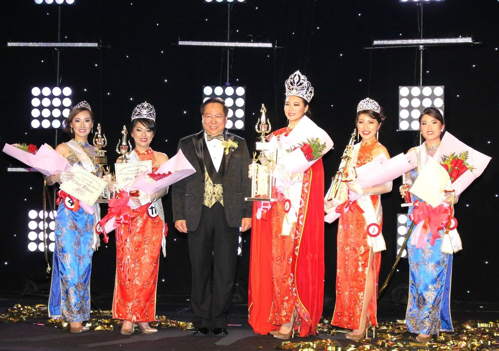 From left to right:  Third Princess Ting Ting Shi, First Princess Colleen Chung, President Chester Chung, Queen and Miss Photogenic Angela Liu, Second Princess Sabrina Kaing, and Miss Photogenic Ana Chen