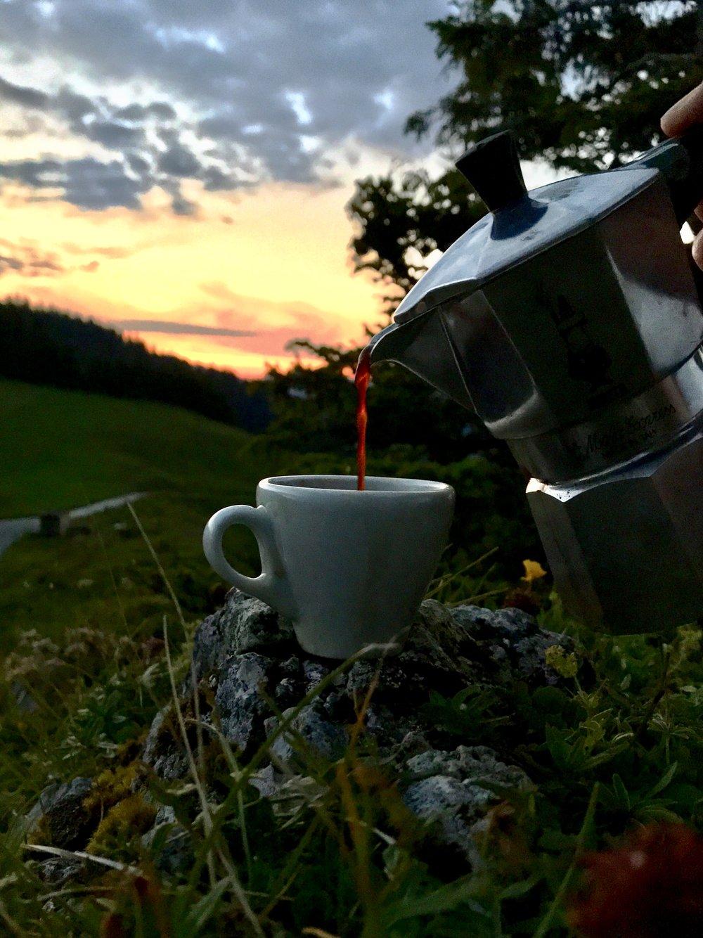 Sonnenaufgangsespresso