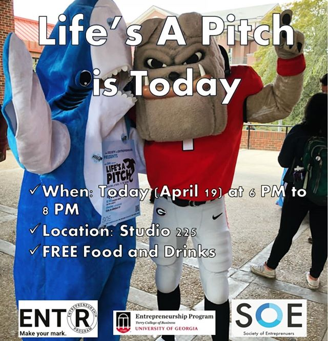 Come out to SOE's 3rd annual Life's a Pitch! It's a really fun event where you get to pitch business ideas for sustainability, Shark Tank style. *Co-sponsored by UGA's Office of Sustainability*  Also, Students 2 Startups is being held at Studio 225 from 12-3 today!