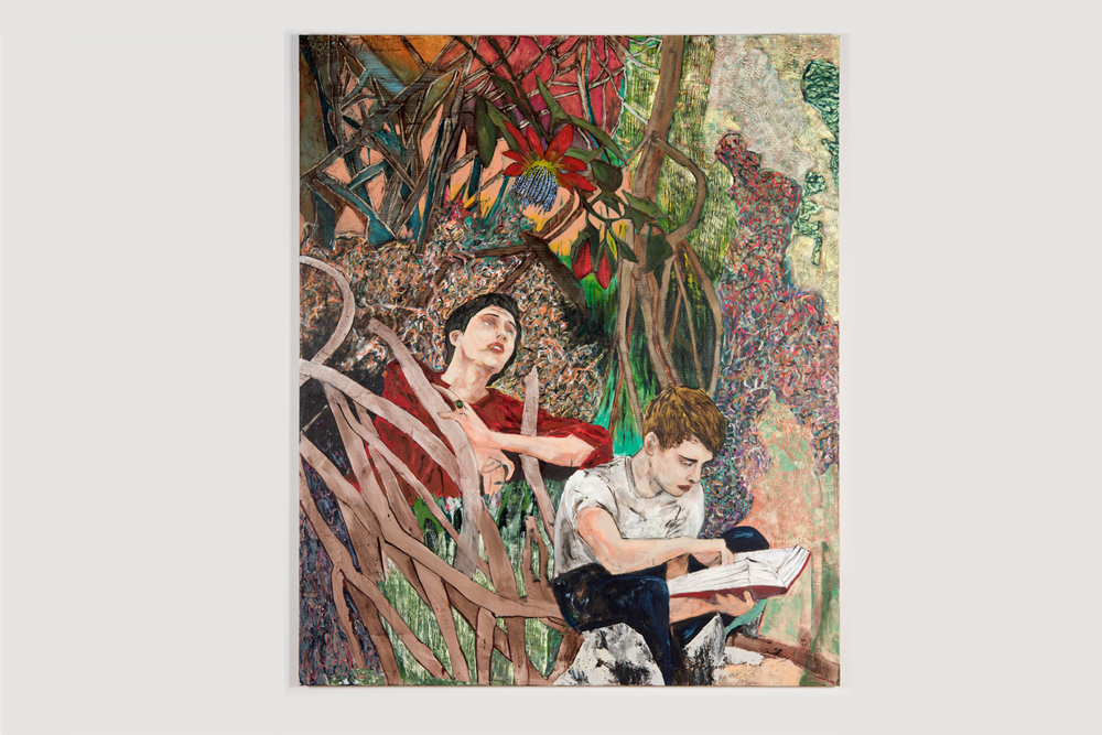 Hernan Bas  reading from a blank book   2016 Acrylic and enamel on linen 72 x 60 inches