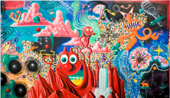 Kenny Scharf (1958-) When the Worlds Collide, 1984. 2016 Oil and acrylic spray paint on canvas. 122 5/16 × 209 5/16 in./ Artists Rights Society (ARS), New York