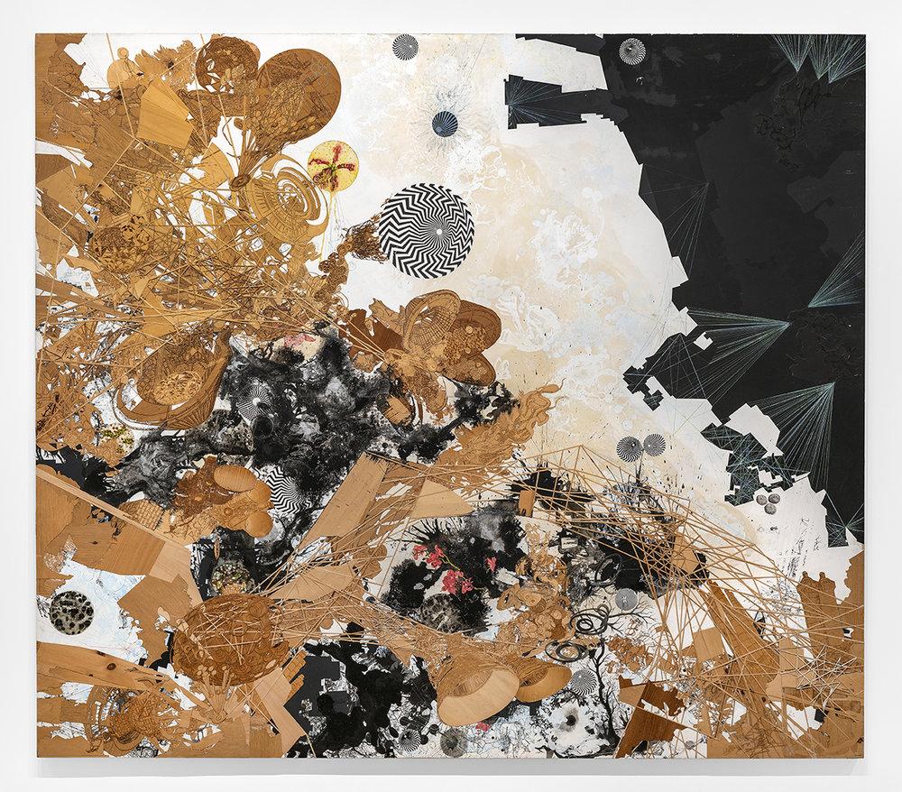 Tomas Vu,  Speak To Me/Breathe , 2016, Mixed media on wood panel, 84 x 96 x 2 in