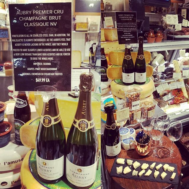 Looking for that perfect bottle of Champagne? Try Aubry Premier Cru in our cheese cave this evening! The bubbles go well with our Weybridge Cellars camembert-style cheese! @dibrunobottleshop #champangeandcheese #cheesecave #dibrunos