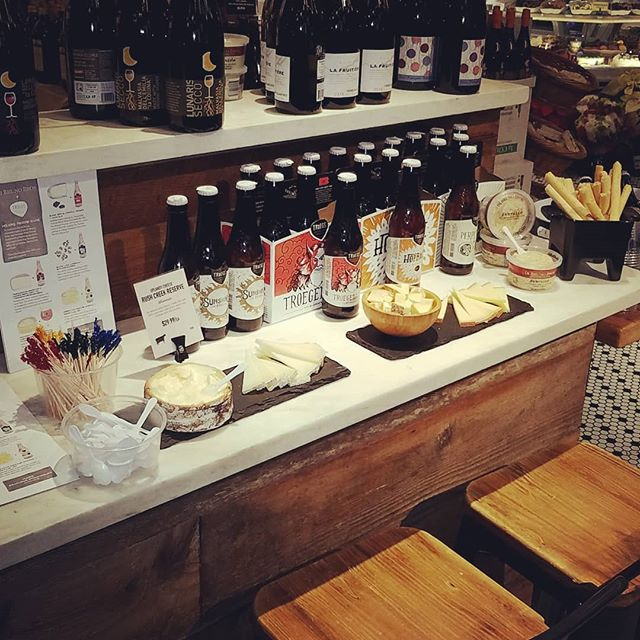 Our friends @troegsbeer are here featuring pairings with @dibrunobros cheeses! Our collab Scratch Series on tap now so have a beer while you shop! #pairswellwithnow #beerandcheese #mostwonderfulbeer #bestfriends #dibrunos