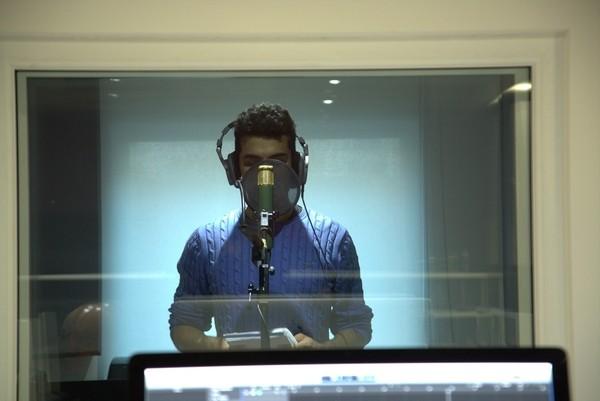 Manu Salamanca in a recording studio