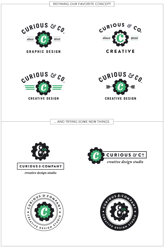 Curious & Co. rebrand design concepts