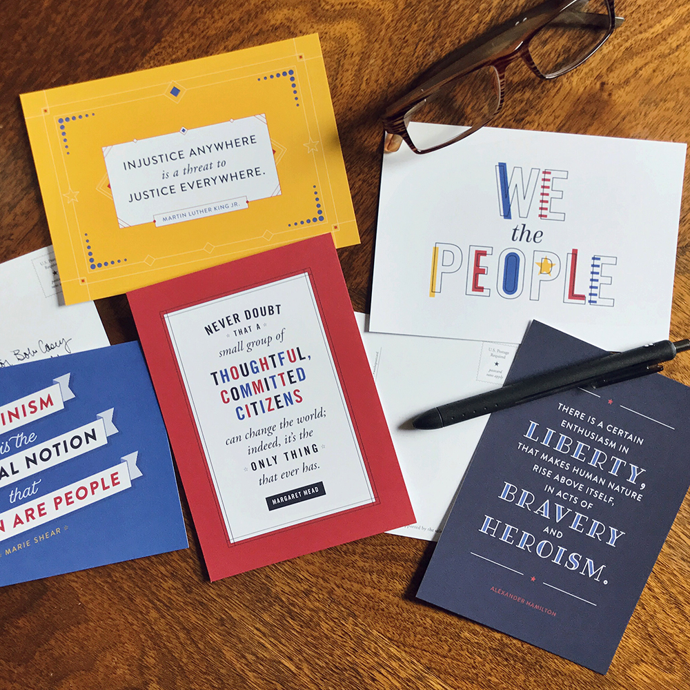 Patriotic postcards ready for your two cents  50% of proceeds are donated to NRDC, ACLU, and Americans for the Arts