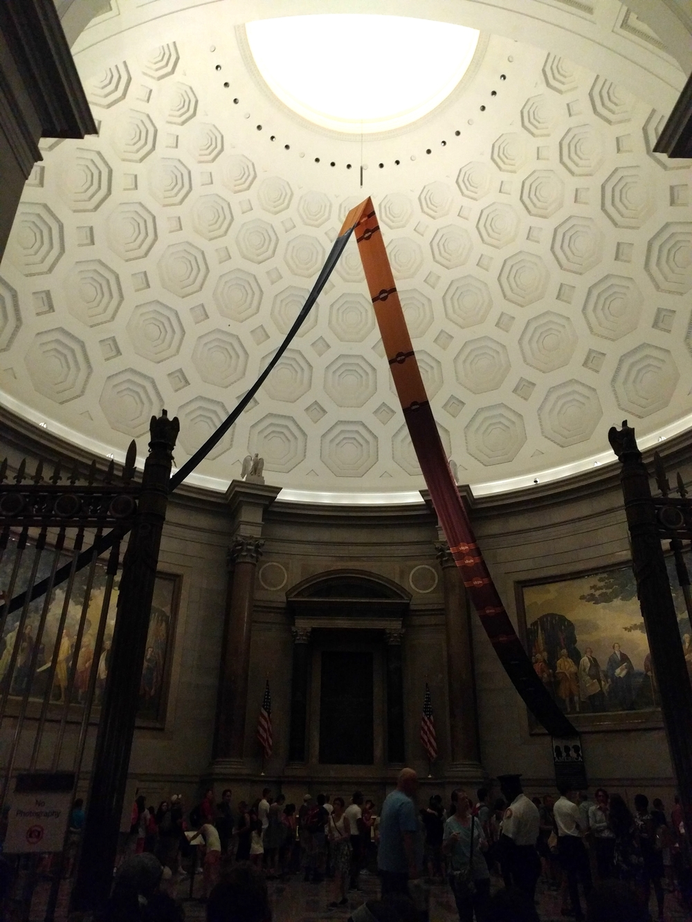 Inside the rotunda at the National Archives