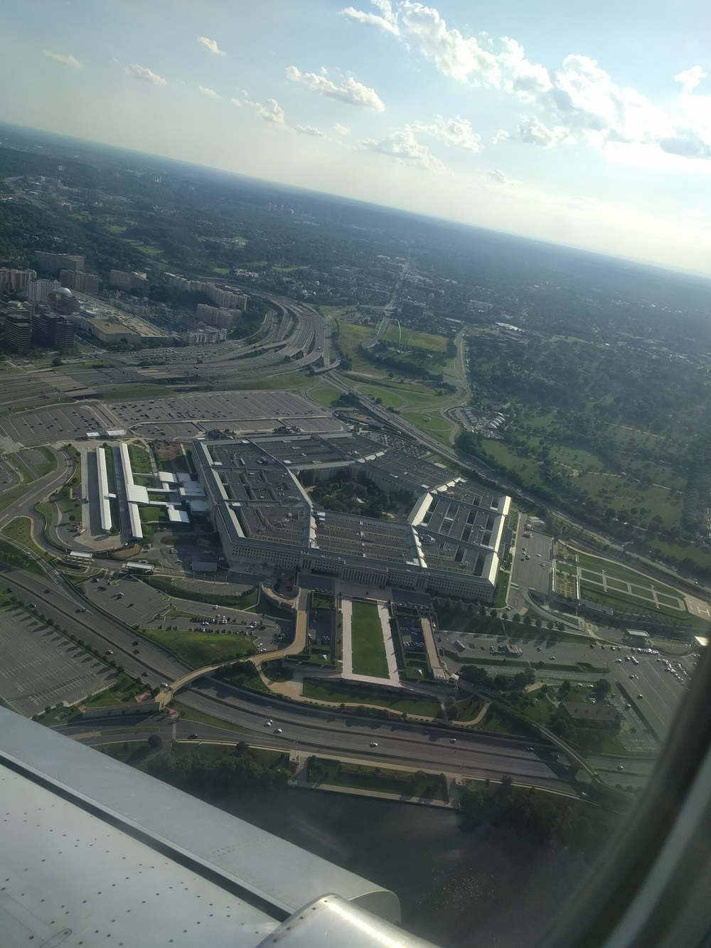 We saw the Pentagon as we were flying out!