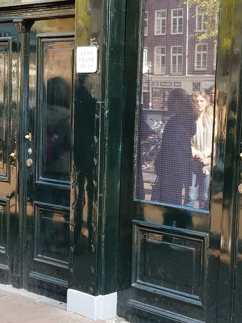 Terrible picture, but this is the outside of the Anne Frank House.