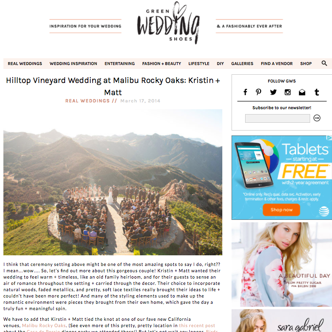 Kristin + Matt | Green Wedding Shoes March 17, 2014- Read Article