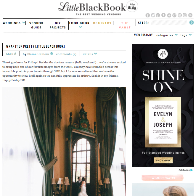 Wrap it up little pretty black book! |   Style Me Pretty   March 17, 2014-   Read Article